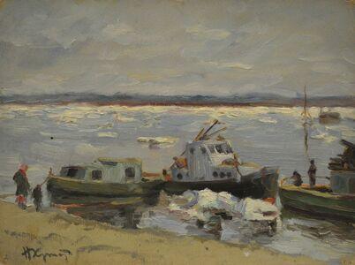 Nikolay Pavlovich Khristolyubov, 'Thaw on the Neva River', 1945
