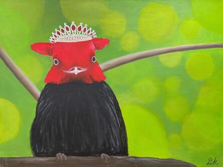 Gemma Kahng, 'Red Capped Manakin with Ruby and Diamond Tiara', 2021
