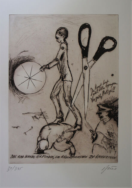 Günter Brus, 'the wheel was invented to crucify the wheel-animal', 2000
