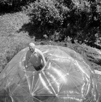 Hazel Larsen Archer, 'Buckminster Fuller inside His Geodesic Dome', 1949