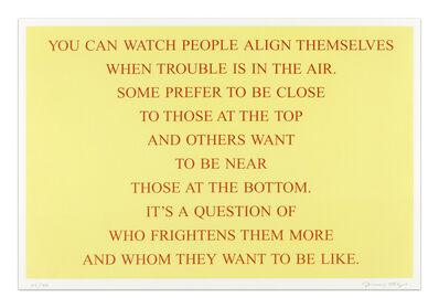Jenny Holzer, 'Selection from 'Living 1980 - 1982'', 1999