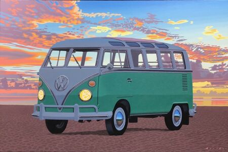 "Rob Brooks, '""Samba, Afterglow"" oil painting of a green VW bus on the beach with a sunset behind', 2020"
