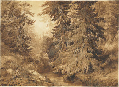 Alexandre Calame, 'An Ancient Pine Forest with a Mountain Stream', 1847