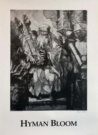 Hyman Bloom, 'Abstract Expressionist Hyman Bloom Judaica Hand Signed Poster Rabbi with Torah', 20th Century