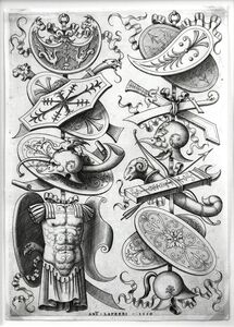 Enea Vico, 'Two Trophies With a Cuirass Lower Left', 1550