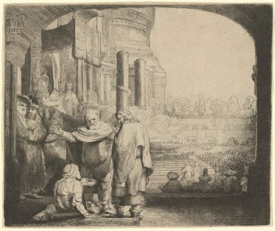Rembrandt van Rijn, 'Peter and John Healing the Cripple at the Gate of the Temple', 1659