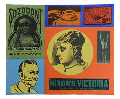 Larry Lewis, 'Untitled (Nixon's Victoria) -Page from mixed media collage book, Side A and B', ca. 1970
