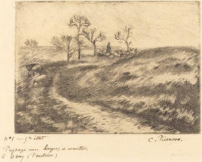 Camille Pissarro, 'Paysage avec berger et moutons a Osny (Pontoise)', 1883