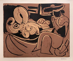 Pablo Picasso, 'Woman Laying Down and Man with a Guitar', 1959