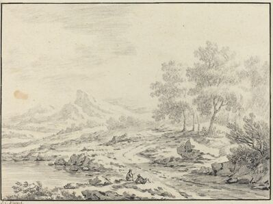 Johann Christoph Dietzsch, 'Two Men Resting near a Lake'