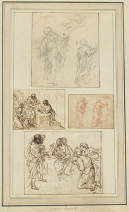 Agostino Masucci, 'Studies of Saint Joseph and the Adoration (four sketches mounted on one sheet)'