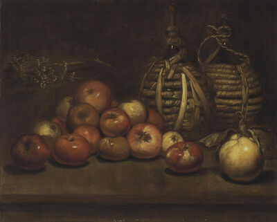 'Wine bottles with apples and a quince'