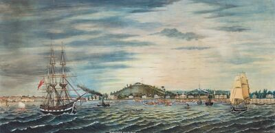 Robert Wilson Wiber, 'Panoramic View of Singapore from the Harbour', 1849