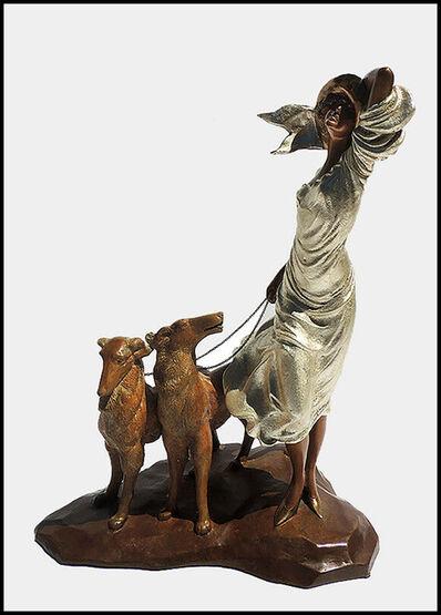 Louis Icart, 'Louis Icart Bronze Sculpture Coursing Joie De Vivre Deco Art Windmill Etching', 1986