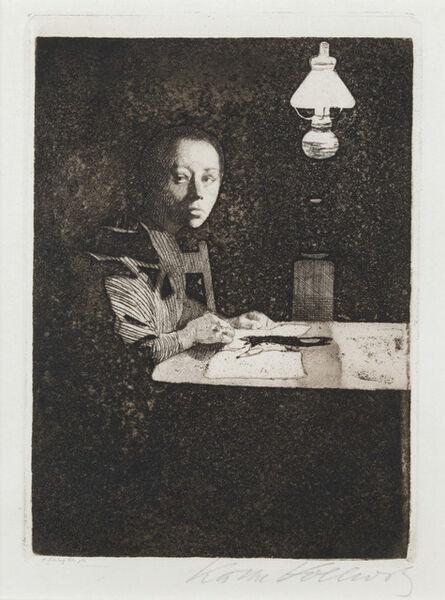 Käthe Kollwitz, 'Self-Portrait at the Table', 1893