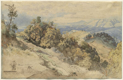 Carl Wilhelm Müller, 'Sun and Rain in the Serpentara near Olevano', 1869