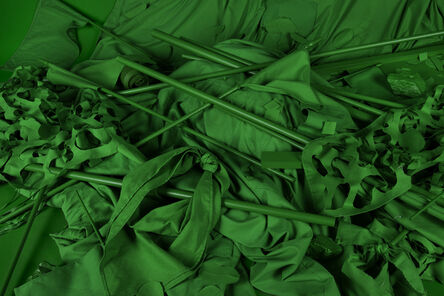 Stephanie Syjuco, 'Chromakey Aftermath 1 (Flags, Sticks, and Barriers)', 2017