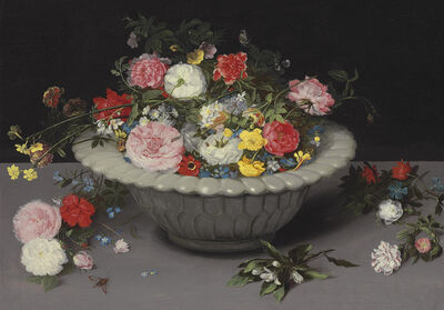 Attributed to Jan Breughel II, 'Roses, tulips, daffodills, ranunculus and other flowers, in a celadon vase, on a table', Likely ca. 1615-1620
