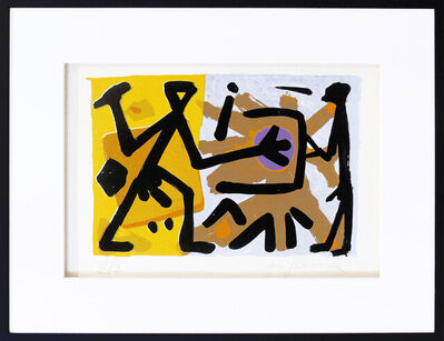 """A.R. Penck, '""""Operator"""" gelb-blau', 1990"""