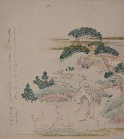 Shinsai, 'Pines, Bamboo, Plum Blossoms and Cranes', ca. 1815