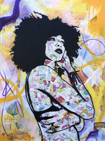 Amy Smith, 'Free and Clear - Contemporary Female Pop Portrait - (Yellow + Pink + Black + White)', 2021