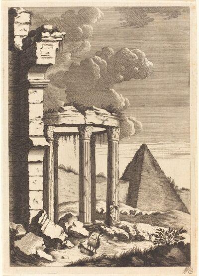 Bernhard Zaech after Jonas Umbach, 'Goats before Ruins and a Pyramid', ca. 1650