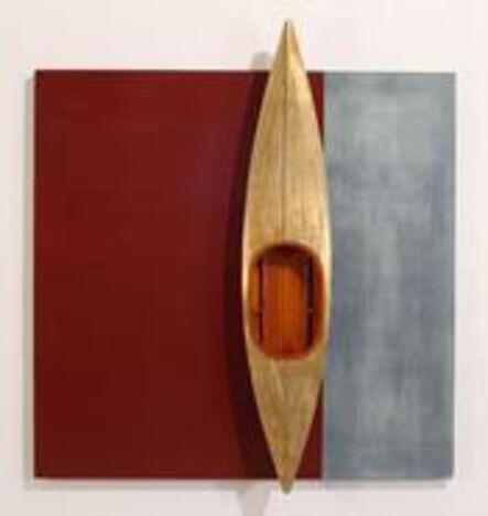 David Ruddell, 'Gold Boat, Red Board Background', 2014