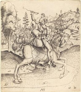 Master MZ, 'Knight and Lady on Horseback', ca. 1500