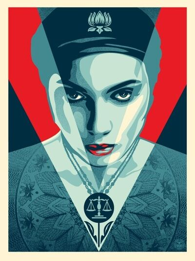 Shepard Fairey, 'JUSTICE WOMAN RED', 2021