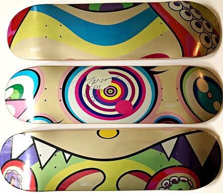 Takashi Murakami, 'Hand Signed Flower Drawing: Set of Three (3)  Limited Edition Mr. Dob Skateboards with Original Hand Signed Flower Drawing', 2017