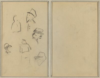 Paul Gauguin, 'Four Heads and Two Figures [verso]', 1884-1888