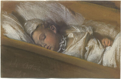 Adolph Menzel, 'An Infant Asleep in His Crib', 1848