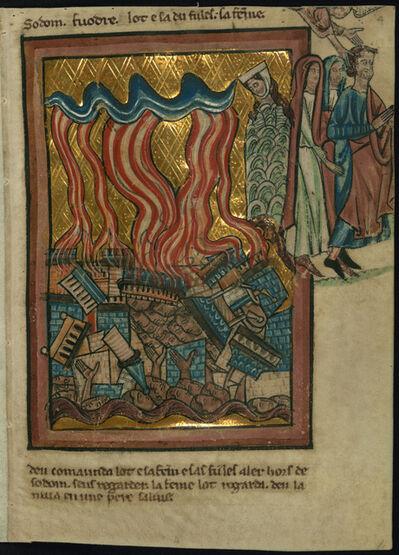 William de Brailes, 'Lot and his Family Flee Sodom (Genesis 19:15-26)', ca. 1250