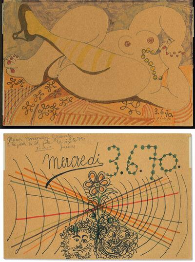 Pablo Picasso, 'Nu couché au collier (recto) ; Deux têtes (verso)', 1970