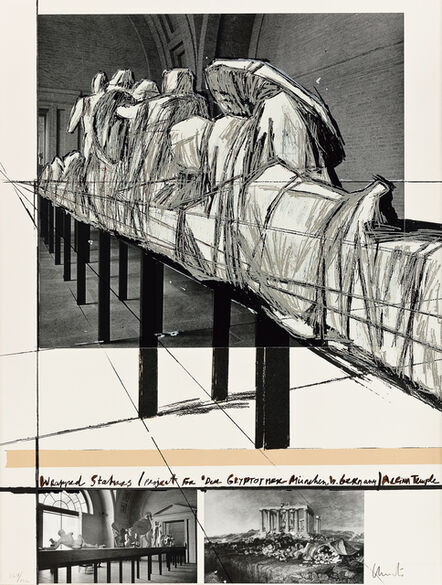 Christo, 'Wrapped Statues (Project for 'Der Glyptotek-München', West Germany) Aegina Temple (From Official Arts Portfolio of the XXIVth Olympiad, Seoul, Korea)', 1988