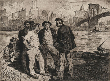 Martin Lewis, 'Dock Workers Under the Brooklyn Bridge ', ca. 1916