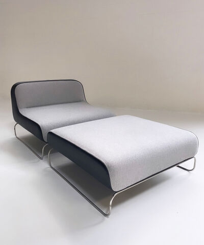 Piero Lissoni, 'Lounge Chair & Ottoman in Loro Piana Cashmere and Leather', Late 20th Century