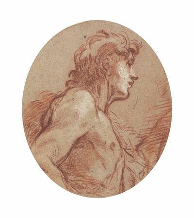 François Boucher, 'Saint John the Baptist, half-length, in profile facing to the right'
