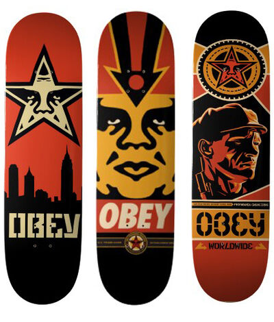 Shepard Fairey, 'Skateboard set of 3', ca. 2015