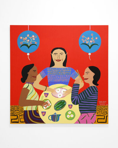 """Chelsea Ryoko Wong, '""""Punchy Red Dim Sum with Friends Under Ornate Lanterns""""', 2020"""