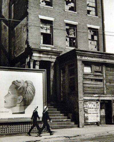 André Kertész, 'Two Sailors by Billboard, New York', 1947