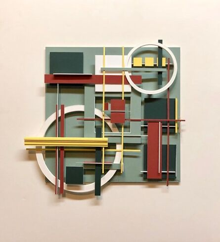 Lawrence Saul Heller, 'Geometric Abstract Painted Wall Hanging Constructivist Architectural Sculpture', 1990-1999