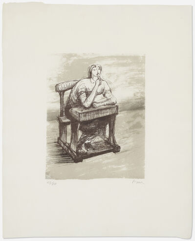 Henry Moore, 'Girl Seated at Desk IV', 1974
