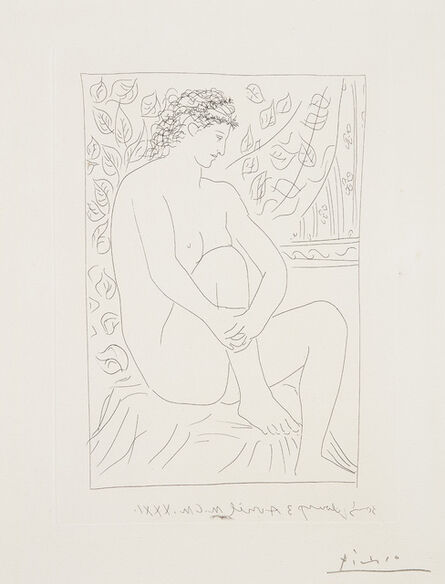 Pablo Picasso, 'Femme nue assise devant un rideau (Naked Woman Sitting in Front of a Curtain), plate 4 from La Suite Vollard (Bl. 137, Ba. 202)', 1931