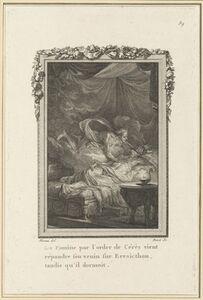 Louis Binet after Jean-Michel Moreau, 'La Famine par l'ordre de Cérès vient répandre son venin sur Eresicthon, tandis qu'il dormoit', published 1767/1771