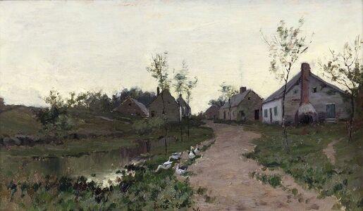 Bruce Crane, 'Farmhouses in the Light', ca. 1885
