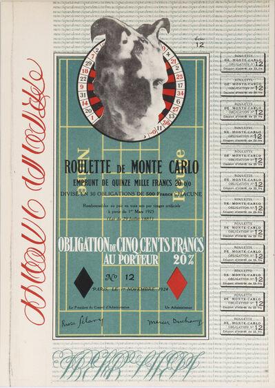 Marcel Duchamp, 'Obligation Monte Carlo - Monte Carlo Bond. With a Self Portrait', 1924-1938