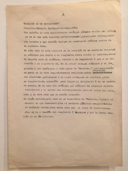 Roberto Jacoby, 'Catalogo de um Environment', 1966