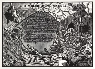 Jay Bolotin, 'XIV. Detritus of the Angels               The Book of Only Enoch, 2011-2014 A portfolio of 20 woodcuts drawn and cut by Jay Bolotin over a 4 year period'