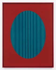 John Opera, 'Red Oval with Lines (blue-green)', 2018
